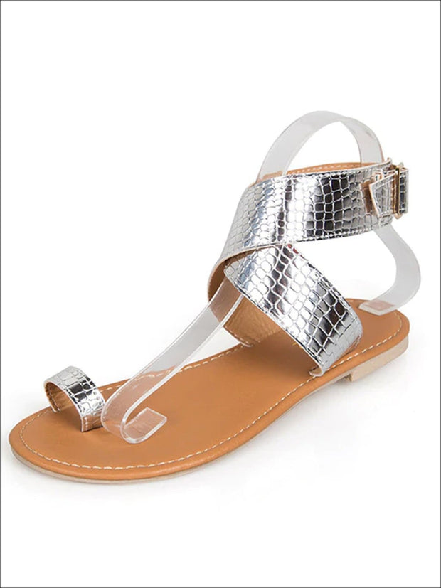 Womens Toe Ring Buckle Strap Greek Sandals - Silver / 4 - Womens Sandals