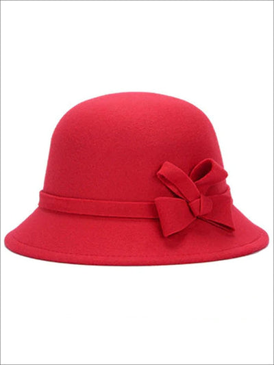 Womens Trendy Bow Tie Bowler Hat - Red - Womens Hats