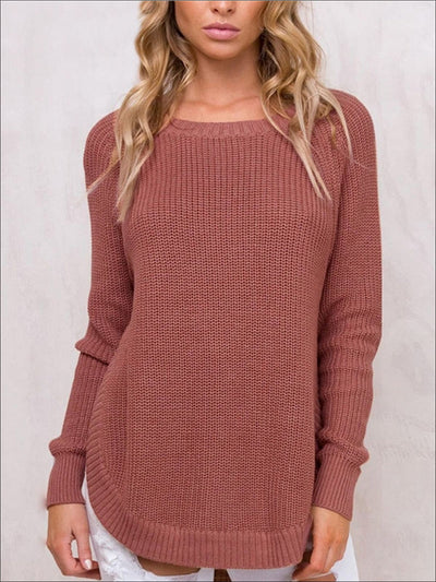 Womens Trendy Casual Hi-Lo Pullover Sweater - Womens Fall Sweaters