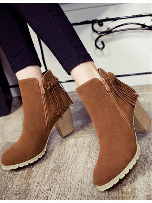 Womens Trendy Fringe Ankle Boots - Womens Boots