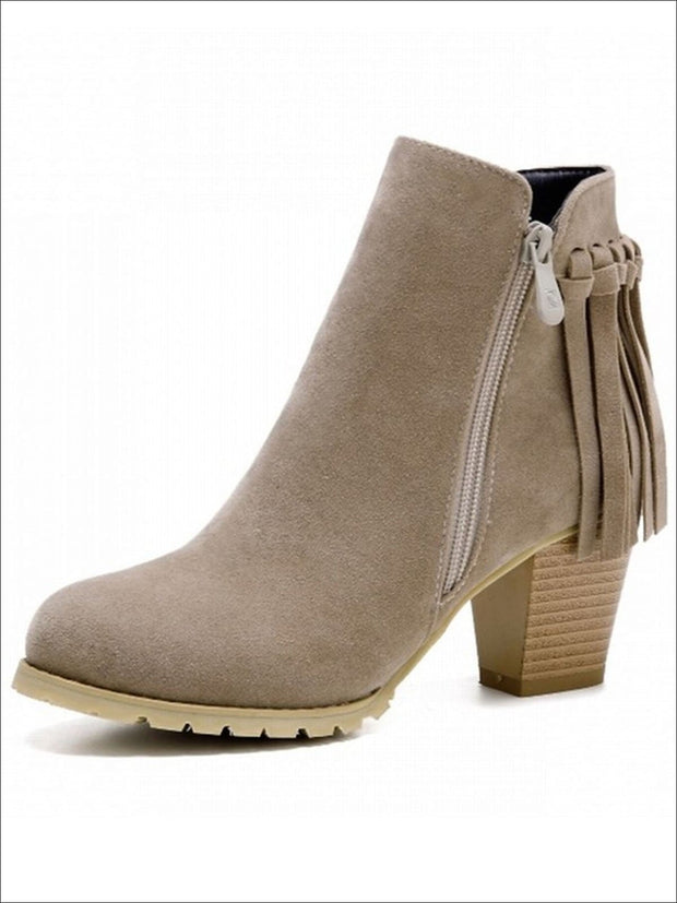 Womens Trendy Fringe Ankle Boots - Beige / 4 - Womens Boots