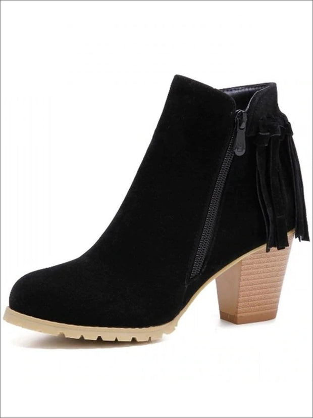 Womens Trendy Fringe Ankle Boots - Black / 4 - Womens Boots