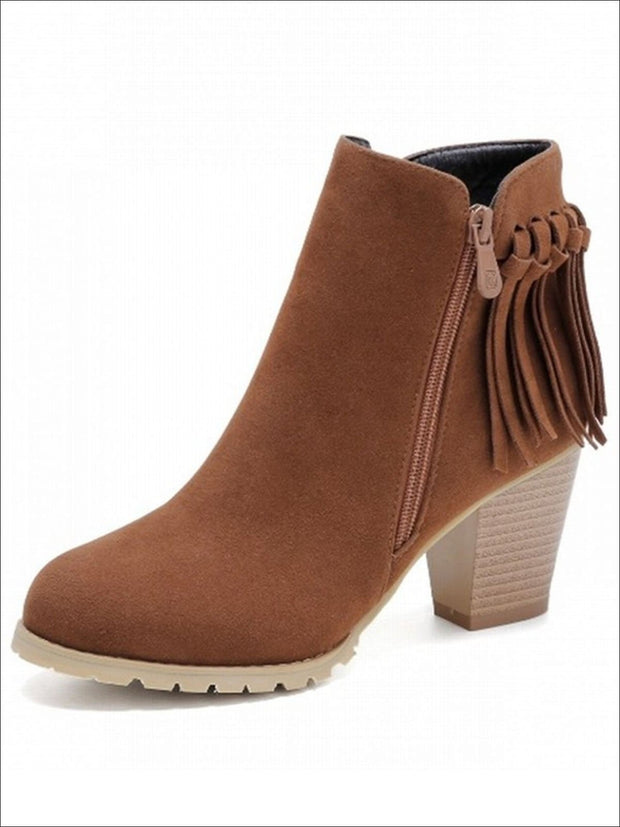 Womens Trendy Fringe Ankle Boots - Brown / 4 - Womens Boots