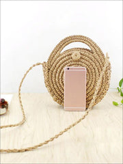 Womens Trendy Knitted Round Straw Beach Bag - Women s Accessories