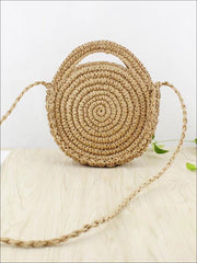Womens Trendy Knitted Round Straw Beach Bag - Brown - Women s Accessories