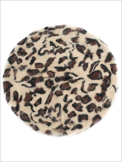 Womens Trendy Leopard Print Casual Beret Cap - Beige - Womens Accessories