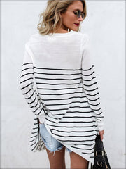 Women's Trendy Oversized Off Shoulder Striped Sweater - Women's Tops