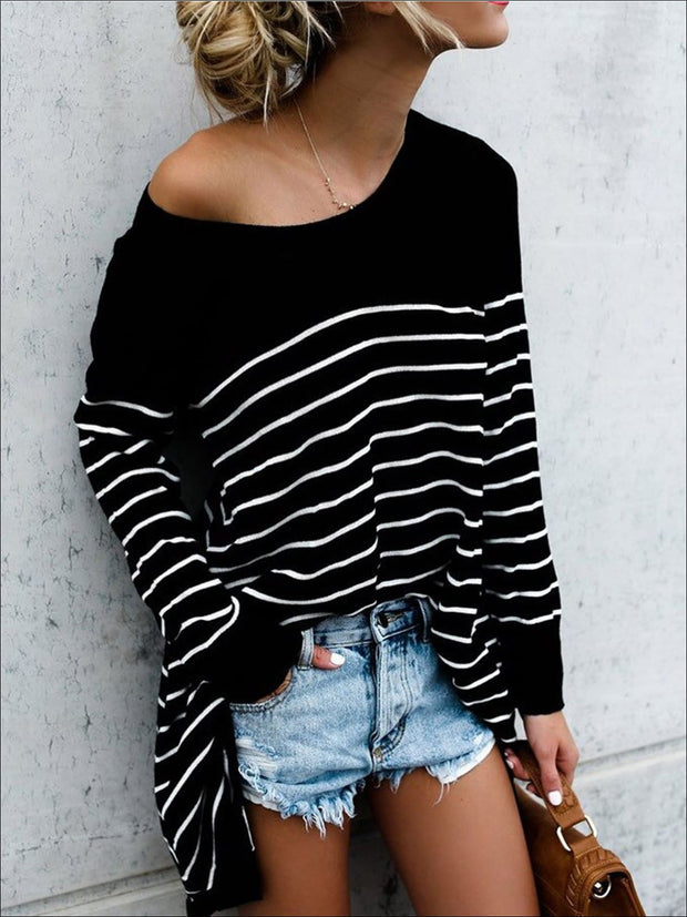 Women's Trendy Oversized Off Shoulder Striped Sweater - Black / S - Women's Tops