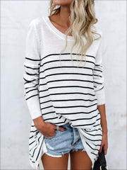 Women's Trendy Oversized Off Shoulder Striped Sweater - White / S - Women's Tops