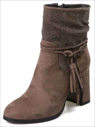 Womens Trendy Winter Block Heel Tassel Boots - Beige / 6 - Womens Boots