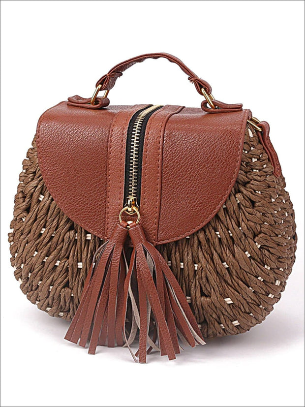 Womens Trendy Woven Bohemian Chic Messenger Bag - Womens Accessories