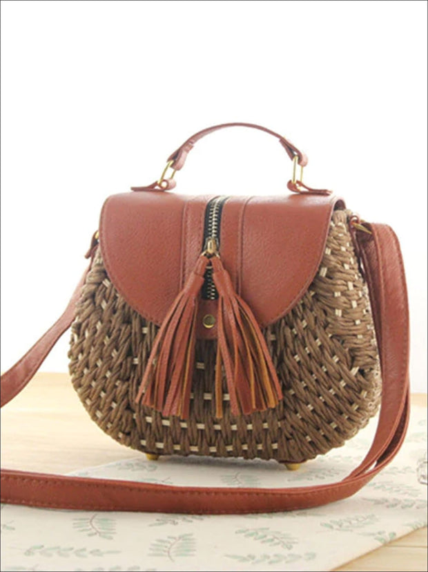 Womens Trendy Woven Bohemian Chic Messenger Bag - Brown - Womens Accessories