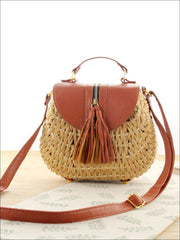 Womens Trendy Woven Bohemian Chic Messenger Bag - Tan - Womens Accessories