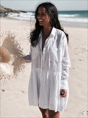Womens Tunic Cover Up With Ruffle Detail (5 Style Options) - White With Pockets / One - Womens Swimsuit