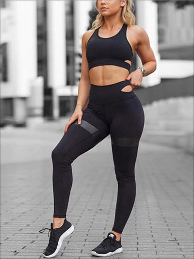Womens Two Piece Activewear Set with Cut-Out Detail & Contrast Black Print - Black / S - Womens Activewear
