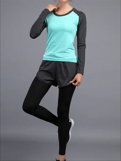 Womens Two Tone Active Long Sleeve Top & Leggings with Shorts Set - Mint / S - Womens Activewear