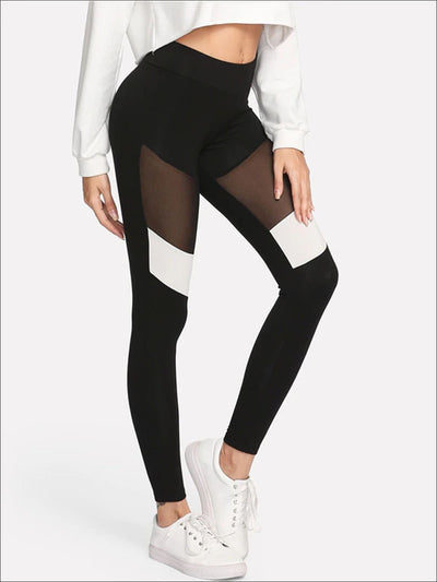 Womens Two Tone Mesh Fitness Leggings - Womens Bottoms
