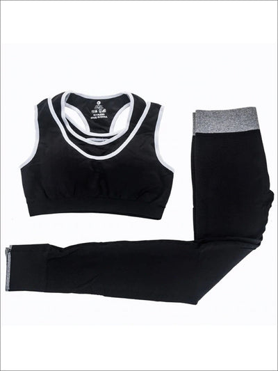 Womens Two Tone Seamless Sports Bra & Perforated Leggings Set (4 Style Options) - Black / S - Womens Activewear