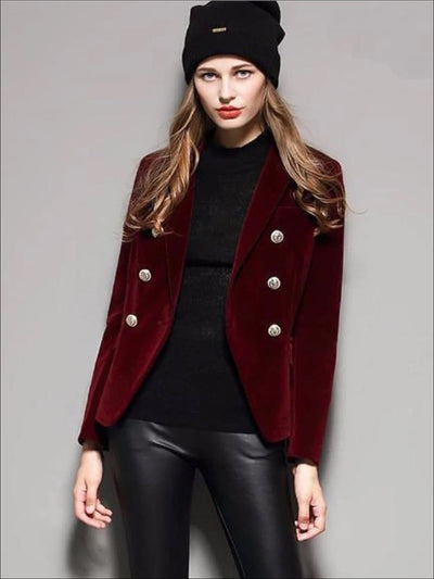 Womens Velvet Blazer (Burgundy & Black) - Womens Outerwear