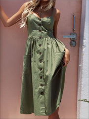 Womens Vintage Sleeveless Casual Dress With Front Pockets (Multiple Color Options) - Womens Dresses