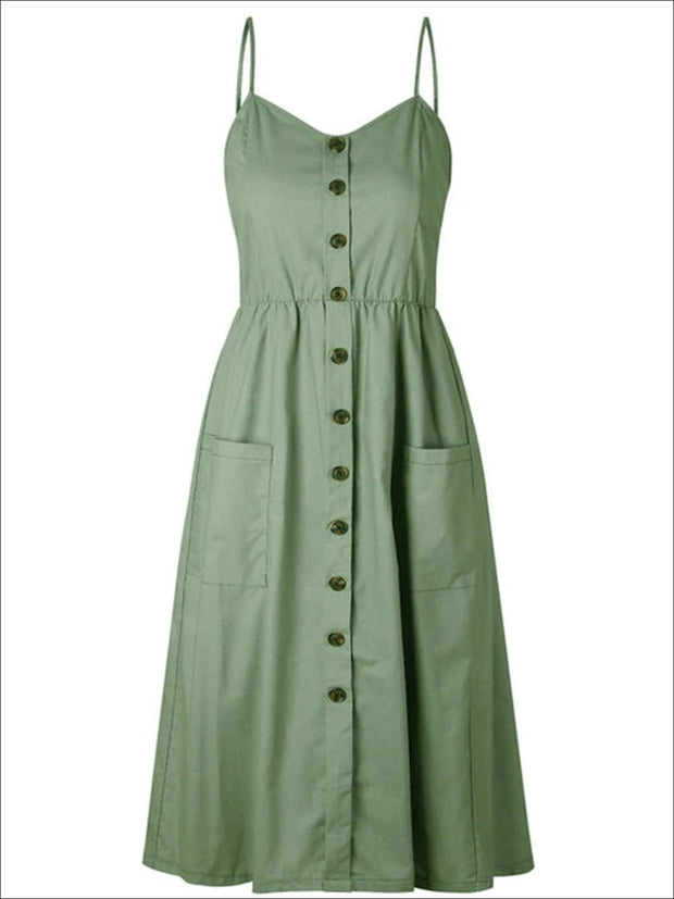 Womens Vintage Sleeveless Casual Dress With Front Pockets (Multiple Color Options) - Green / S - Womens Dresses