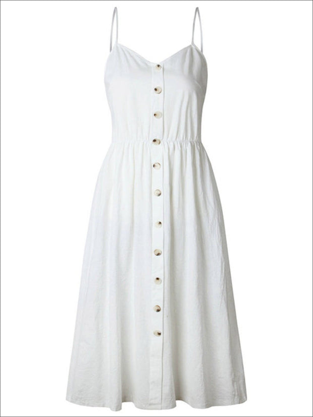 Womens Vintage Sleeveless Casual Dress With Front Pockets (Multiple Color Options) - Off White / S - Womens Dresses