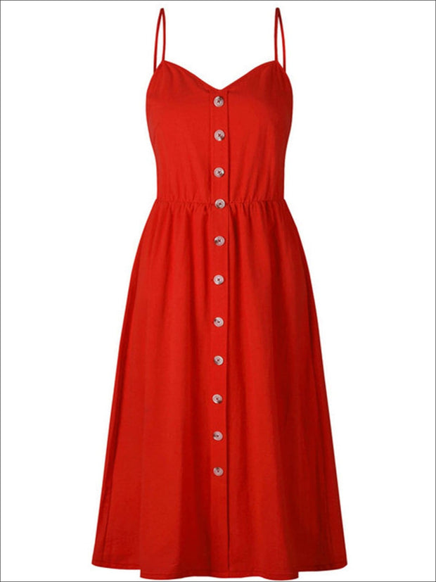 Womens Vintage Sleeveless Casual Dress With Front Pockets (Multiple Color Options) - Red / S - Womens Dresses