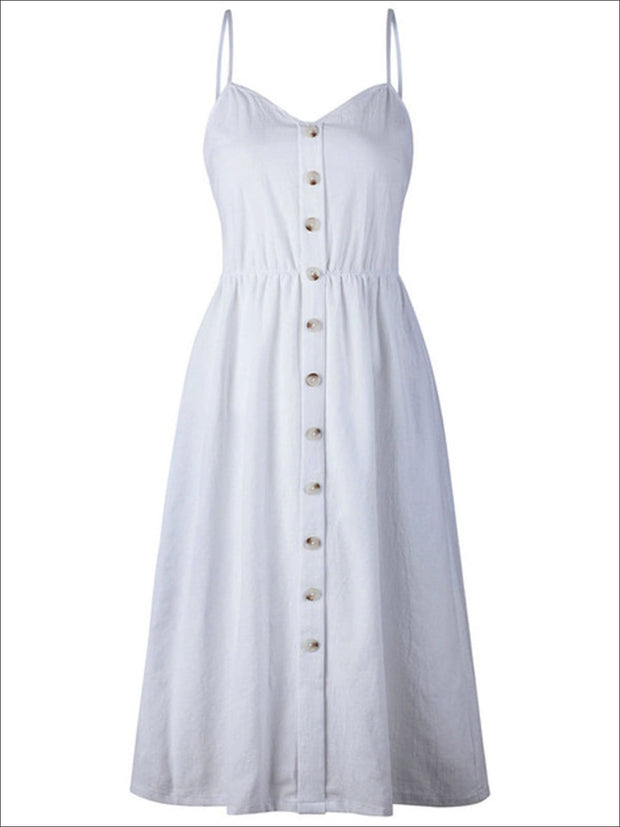 Womens Vintage Sleeveless Casual Dress With Front Pockets (Multiple Color Options) - White / S - Womens Dresses