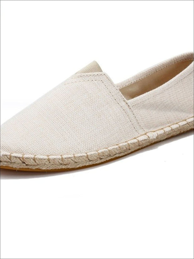 Womens Vintage Striped Espadrille Loafers (Multi Color Options) - Beige / 4 - Womens Shoes