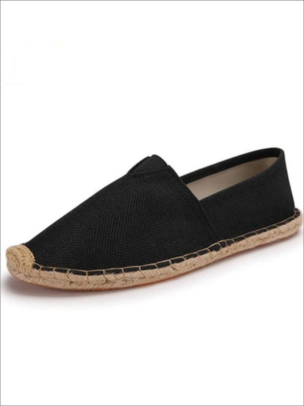 Womens Vintage Striped Espadrille Loafers (Multi Color Options) - Black / 4 - Womens Shoes