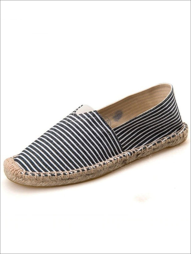 Womens Vintage Striped Espadrille Loafers (Multi Color Options) - Black Pinstripe / 4 - Womens Shoes
