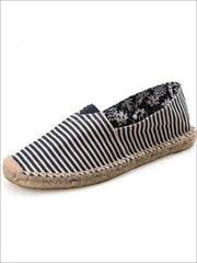 Womens Vintage Striped Espadrille Loafers (Multi Color Options) - Black Printed / 4 - Womens Shoes