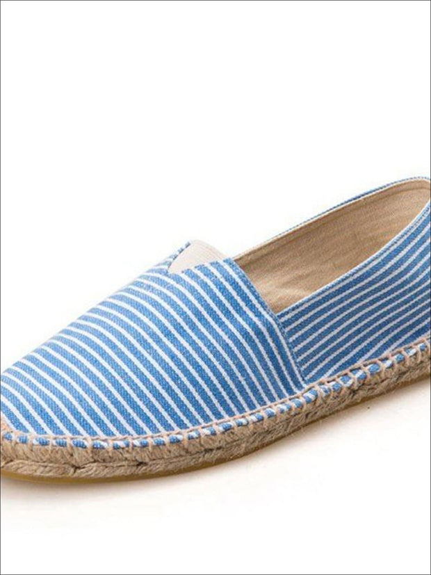 Womens Vintage Striped Espadrille Loafers (Multi Color Options) - Blue / 4 - Womens Shoes