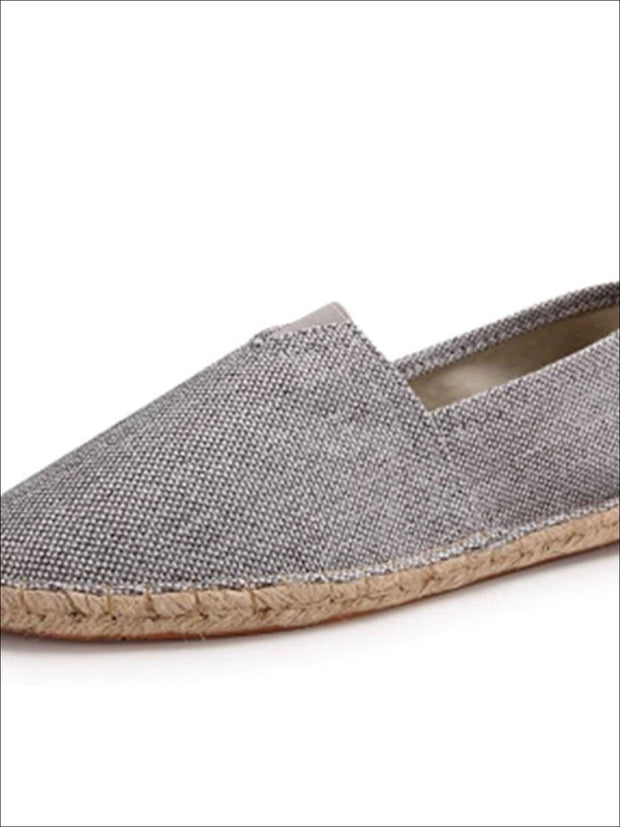 Womens Vintage Striped Espadrille Loafers (Multi Color Options) - Dark Grey / 4 - Womens Shoes