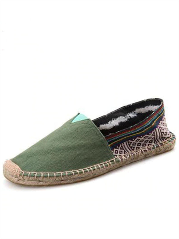Womens Vintage Striped Espadrille Loafers (Multi Color Options) - Green / 4 - Womens Shoes