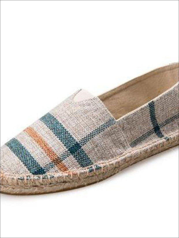 Womens Vintage Striped Espadrille Loafers (Multi Color Options) - Light Grey / 4 - Womens Shoes