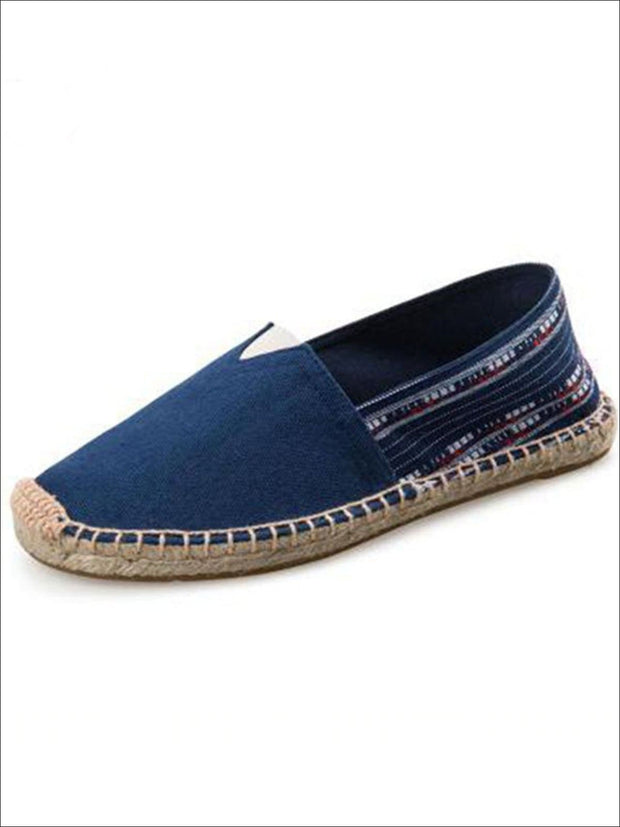 Womens Vintage Striped Espadrille Loafers (Multi Color Options) - Navy / 4 - Womens Shoes