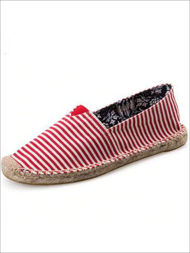 Womens Vintage Striped Espadrille Loafers (Multi Color Options) - Red / 4 - Womens Shoes