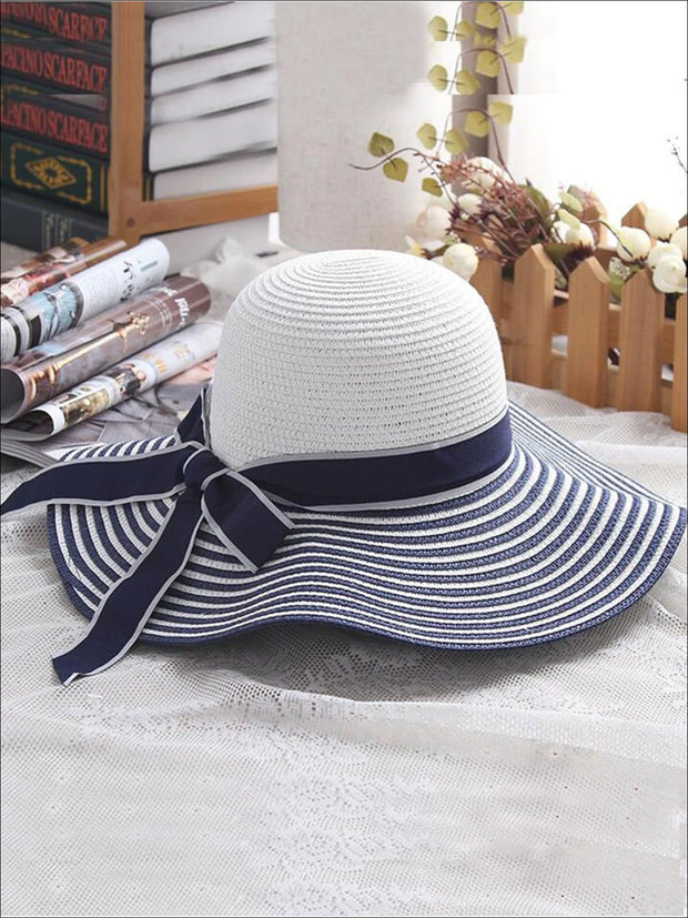 Womens Vintage Striped Wide Brim Summer Hat - Blue / About 56-58cm - Womens Accessories
