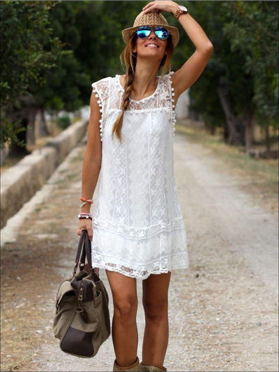 Womens White Crochet Pom Trim Sleeveless Dress/Tunic - Womens Dresses