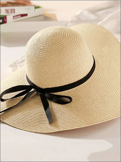 Womens Wide Brim Straw Hat With Black Ribbon - Beige - Womens Accessories