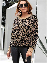 Womens Winter Knit Animal Print Casual Sweater - Multi / S - Womens Fall Sweaters