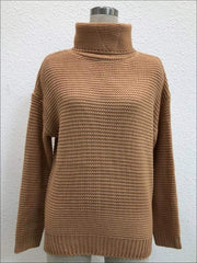 Womens Winter Knit Pullover Sweater - Brown / S - Womens Fall Sweaters