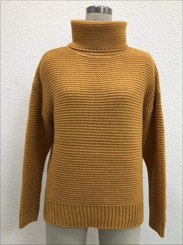 Womens Winter Knit Pullover Sweater - Gold / S - Womens Fall Sweaters