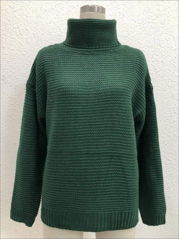 Womens Winter Knit Pullover Sweater - Green / S - Womens Fall Sweaters