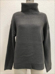 Womens Winter Knit Pullover Sweater - Grey / S - Womens Fall Sweaters