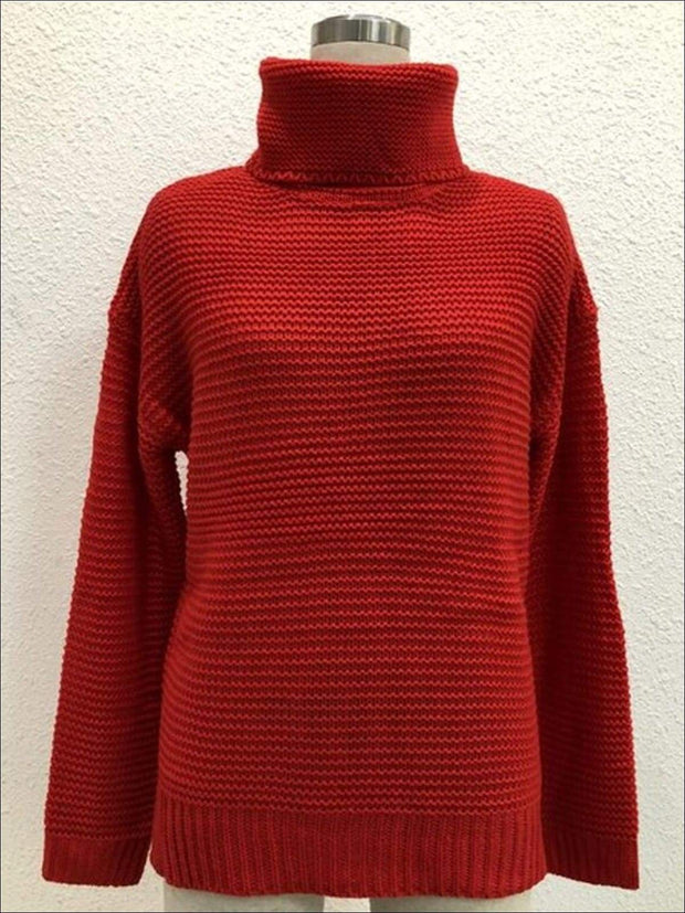 Womens Winter Knit Pullover Sweater - Red / S - Womens Fall Sweaters