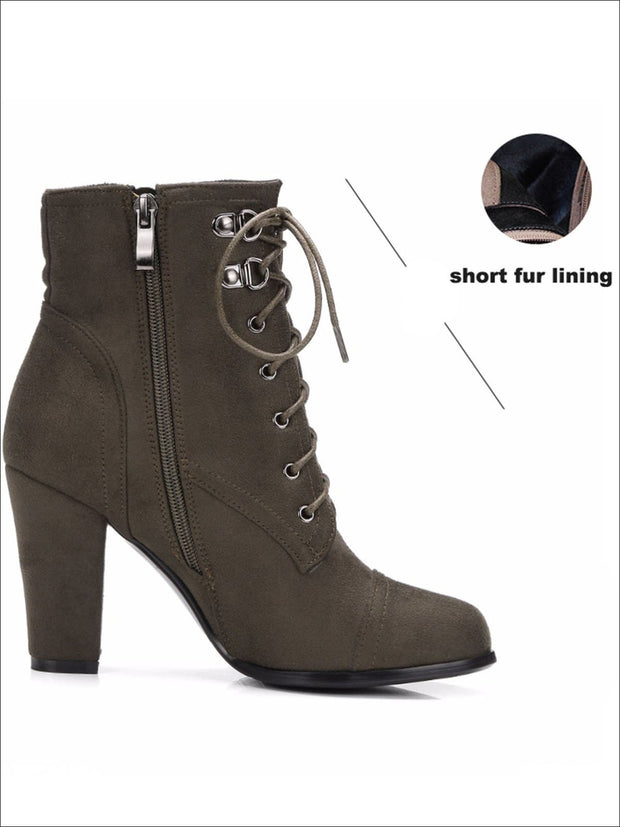Womens Winter Lace-Up Military High Heel Boots - Womens Boots