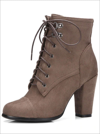Womens Winter Lace-Up Military High Heel Boots - Beige / 4 - Womens Boots