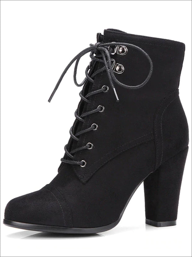 Womens Winter Lace-Up Military High Heel Boots - Black / 4 - Womens Boots